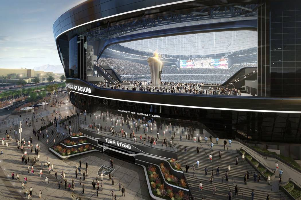Las Vegas Stadium Authority Renderings of the new Raiders stadium being constructed in Las Vegas. The venue is pegged to be ready for the 2020 National Football League season, bringing a pro-footb ...
