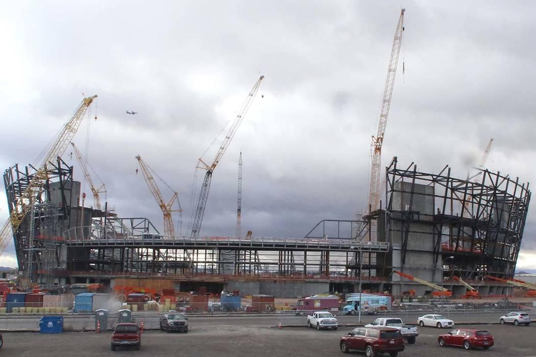 Bizuayehu Tesfaye/Las Vegas Review-Journal The construction site for the future Raiders stadium on Thursday, Jan. 17, 2019, in Las Vegas.