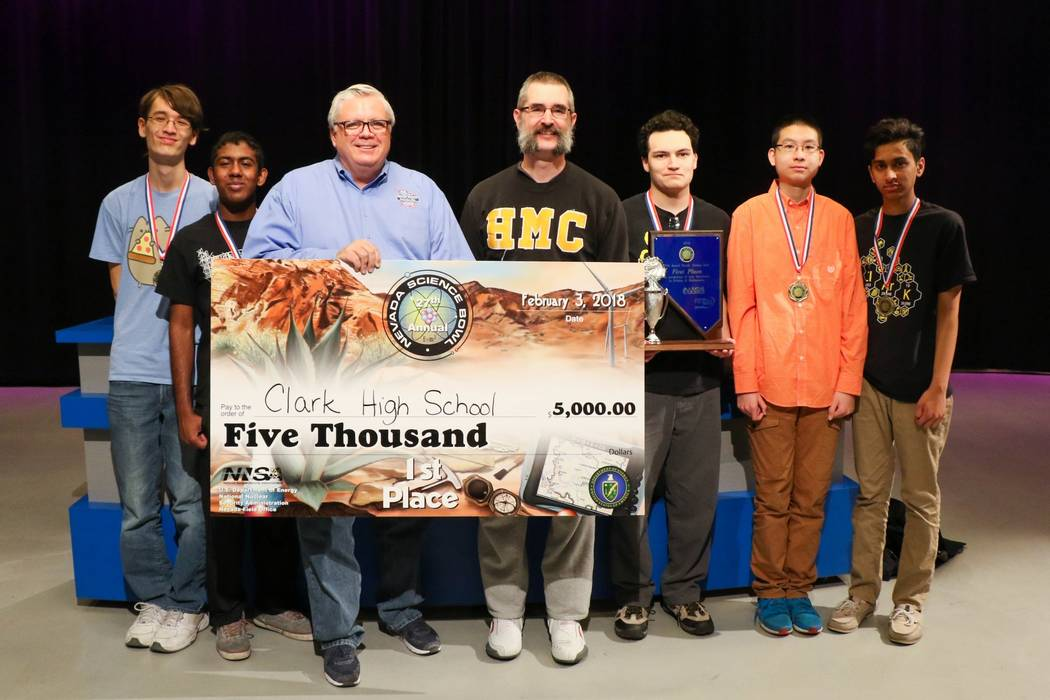 National Nuclear Security Administration file photo This file photo from last year shows team members who won first place in the Nevada Science Bowl on Feb. 3, 2018. Left to right: Alex Bean, Ani ...