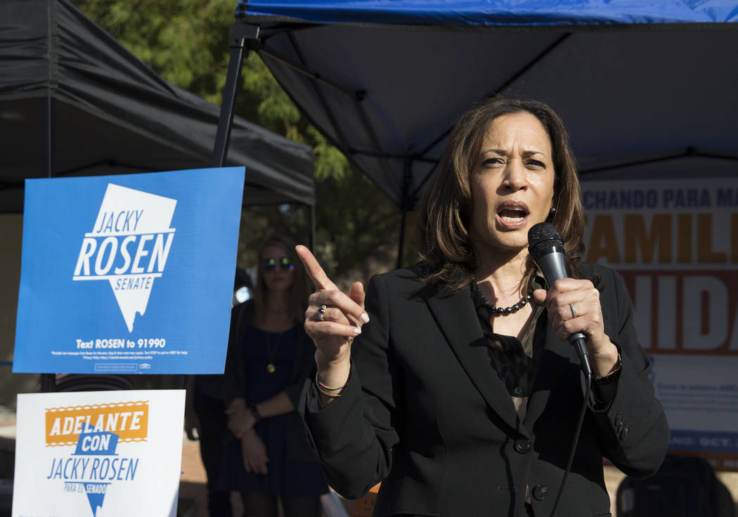 Benjamin Hager/Las Vegas Review-Journal U.S. Sen. Kamala Harris, D-Calif., speaks during a rally hosted by the Nevada State Democratic Party at UNLV on Friday, November 2, 2018, in Las Vegas.