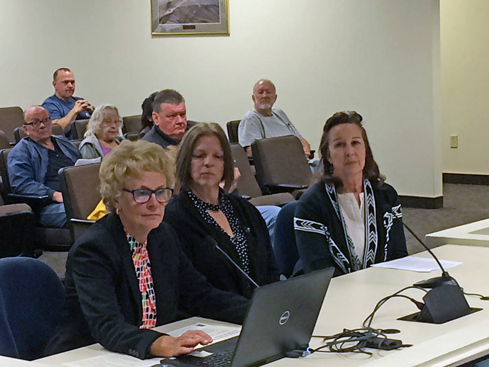 Robin Hebrock/Pahrump Valley Times Michelle Caird, left, gave a presentation on the Pahrump Valley Public Transportation system to the Nye County Commission on Jan. 23, reporting a successful firs ...