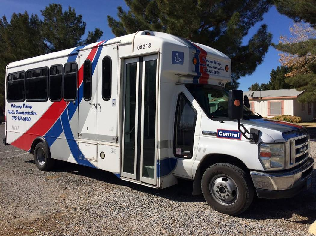 Robin Hebrock/Pahrump Valley Times The newest addition to the Pahrump Valley Public Transportation service is shown. This bus is dedicated to the central route while two others handle the northern ...