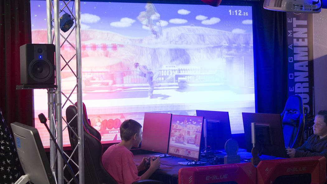 Jeffrey Meehan/Pahrump Valley Times Tournament players battle at a Super Smash Bros Ultimate tournament at the Game Corner & Family Fun Center in Pahrump on Jan. 26, 2019.