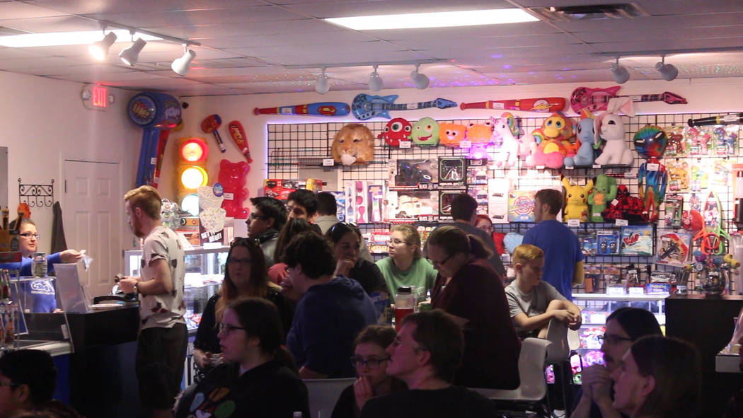 Jeffrey Meehan/Pahrump Valley Times The crowd looks at a video game tournament on Jan. 26, 2019 at the Game Corner & Family Fun Center in Pahrump.