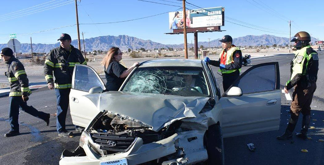 Special to the Pahrump Valley Times One person was transported to Desert View Hospital following a three-vehicle collision along Highway 372 at Red Butte Street, just before 9 a.m. on Tuesday Jan. ...