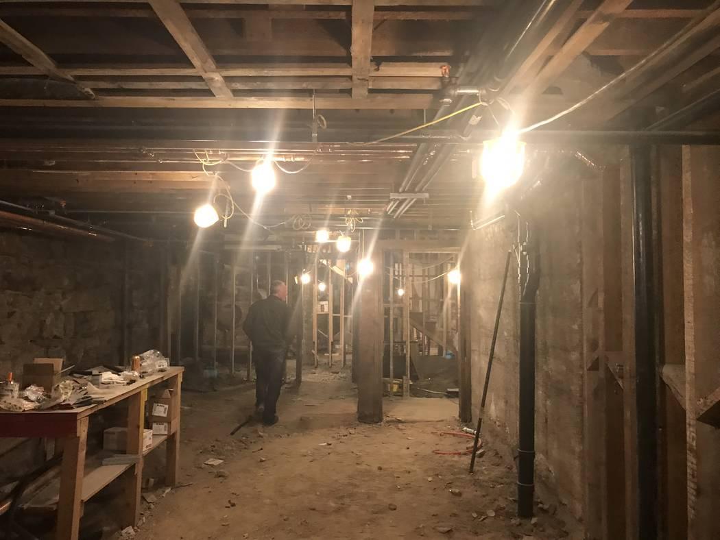 Jeffrey Meehan/Times-Bonanza John McCormick, general manager of the Mizpah Hotel in Tonopah, walks through the basement of the Belvada, currently undergoing major renovations.