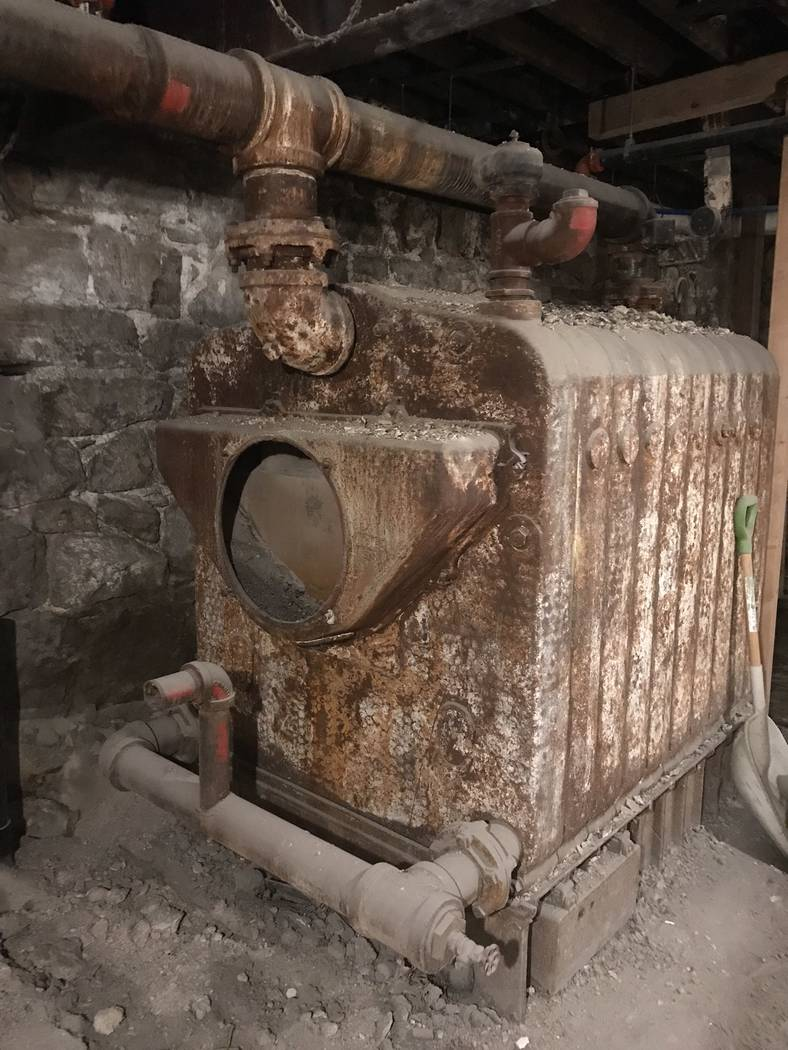 Jeffrey Meehan/Times-Bonanza The old boiler inside the Belvada in Tonopah. The boiler could be the center piece to a future speakeasy at the site.