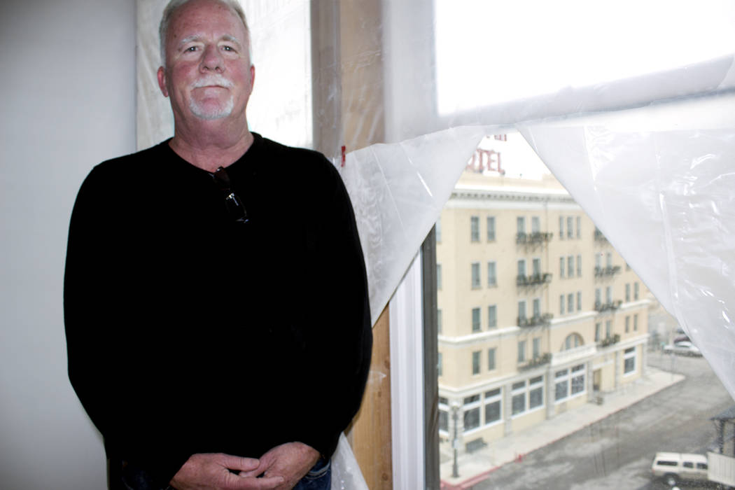 Jeffrey Meehan/Times-Bonanza John McCormick stands in a room on the fifth floor of the Belvada, a 40-room project pegged to open in late spring. The building has been empty for about two decades.