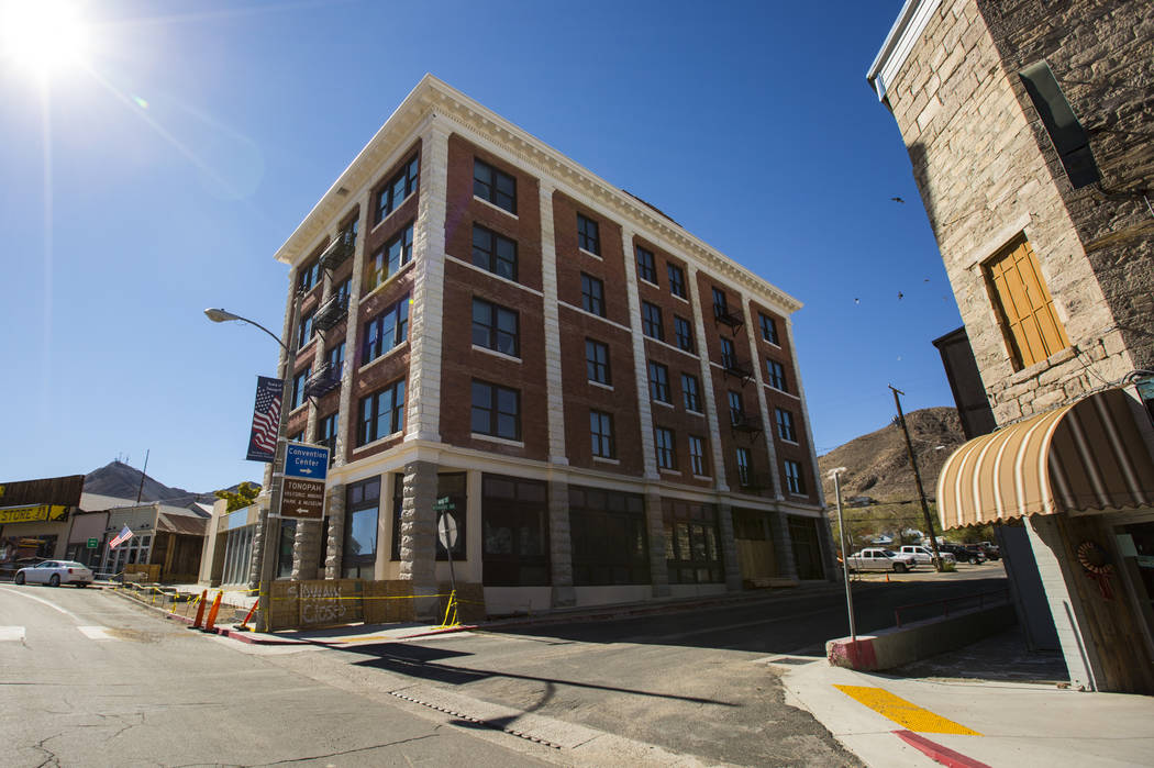 Chase Stevens Las Vegas Review-Journal The Belvada under renovation in Tonopah on Friday, Oct. 12, 2018. The Belvada originally opened as the State Bank and Trust Company Building in 1906.