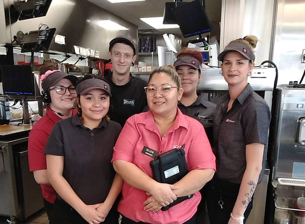 """Selwyn Harris/Pahrump Valley Times Pahrump Jack in the Box Manager Selene Suascegui, center and crew are preparing for a possible onslaught of customers for the businesses """"Super Jack'd Monday B ..."""