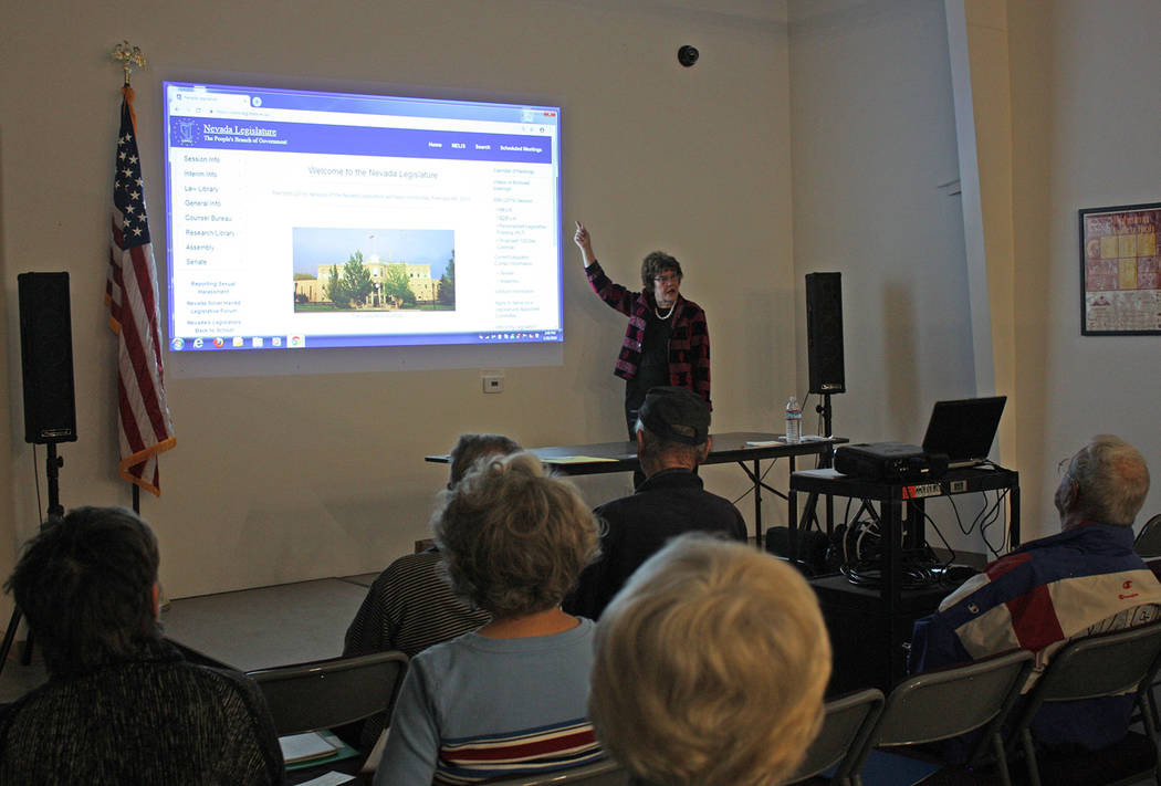 Robin Hebrock/Pahrump Valley Times Janine Hansen is pictured teaching Citizen Lobbyist Workshop attendees how to navigate the Nevada Legislature's website, which is filled with useful information ...