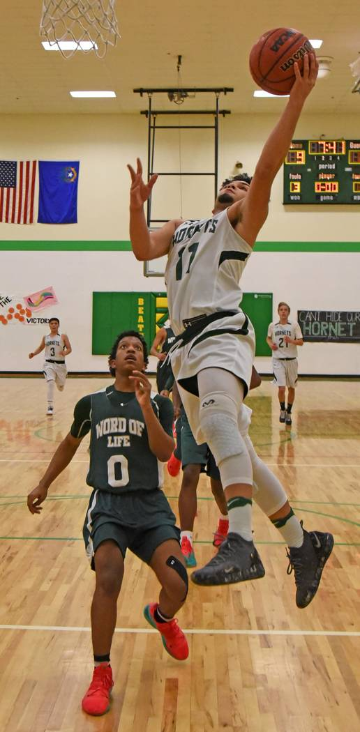 Richard Stephens/Special to the Pahrump Valley Times Beatty junior Fabian Perez led the Hornets with 13 points during a key Class 1A Southern League victory over Word of Life on Jan. 29 in Beatty.