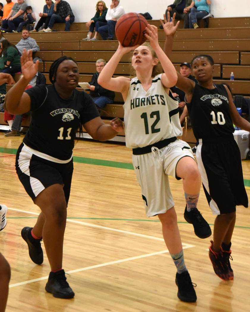 Richard Stephens/Special to the Pahrump Valley Times Sophomore Carmen Stevenson scored 8 points Jan. 29 as the Beatty High School girls basketball team fell to Word of Life in a Class 1A Southern ...
