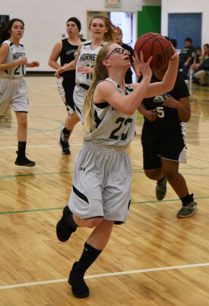 Richard Stephens/Special to the Pahrump Valley Times Beatty sophomore Kyleigh King drives to the basket Jan. 29 against Word of Life. King finished with 5 points as the Eagles defeated the Hornets ...