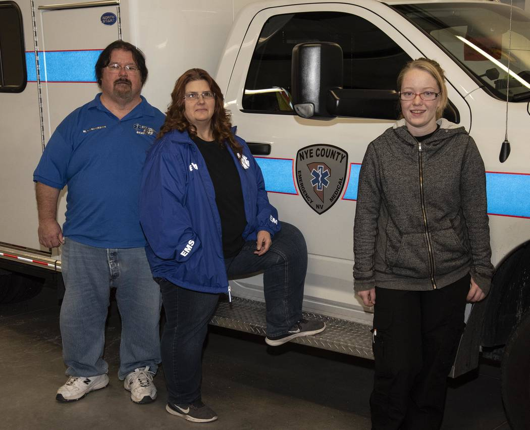 Richard Stephens/Special to the Pahrump Valley Times Mark Henderson has been a Beatty volunteer EMT for 40 years and his wife Allison (on right) has been for 29 years. New EMT classes are schedule ...