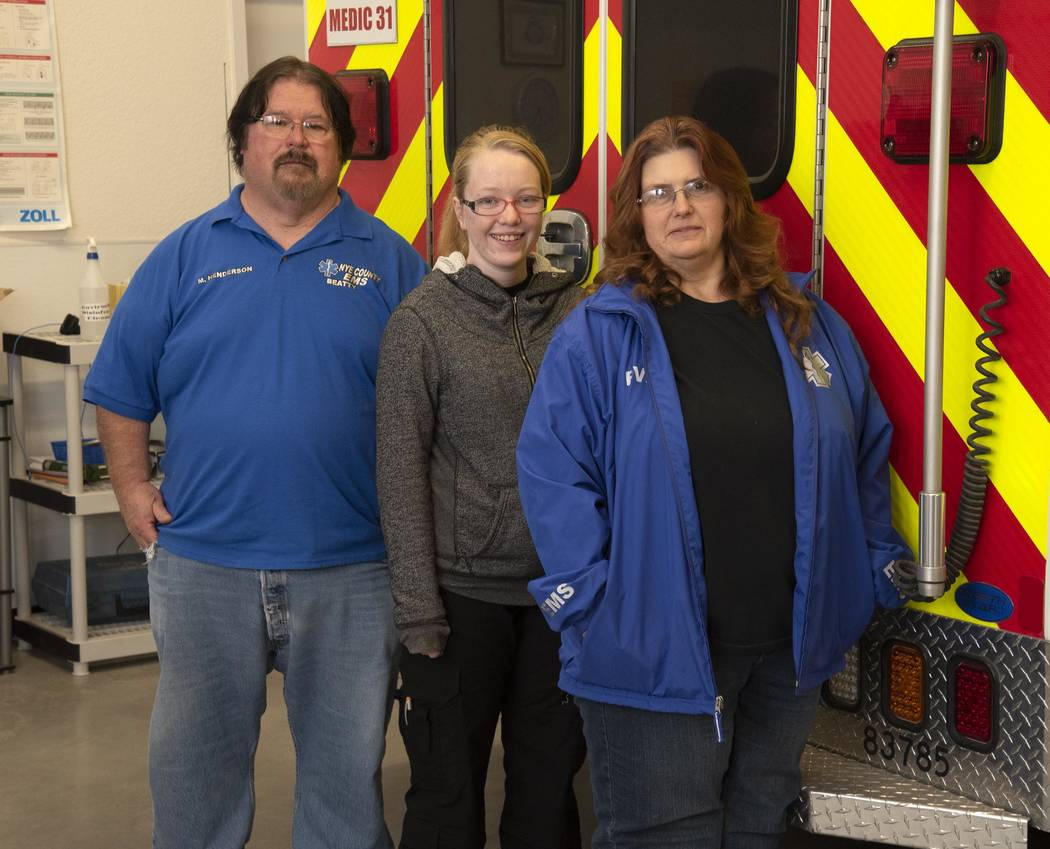 Richard Stephens/Special to the Pahrump Valley Times Beatty EMT's Mark and Allison Henderson and recent Emergency Responder class graduate Summer Taylor (a BHS senior).