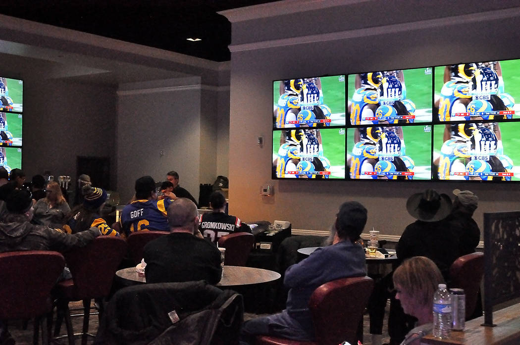 Horace Langford Jr./Pahrump Valley Times - Superbowl LIII party at the Pahrump Nugget Sports Book Sunday