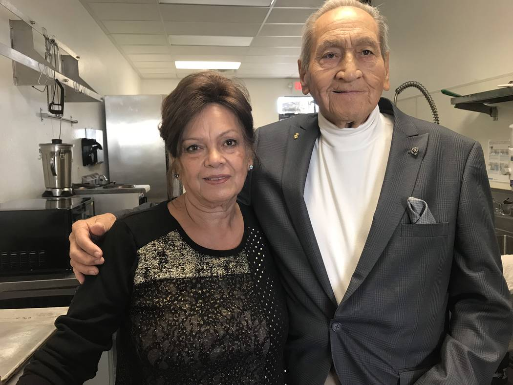 Jeffrey Meehan/Pahrump Valley Times Elizabeth Galeskas (left) stands with her uncle Lee Aguilar at their new tamale shop in Pahrump. The restaurant, which focuses on a Tex-Mex-style of cooking, op ...
