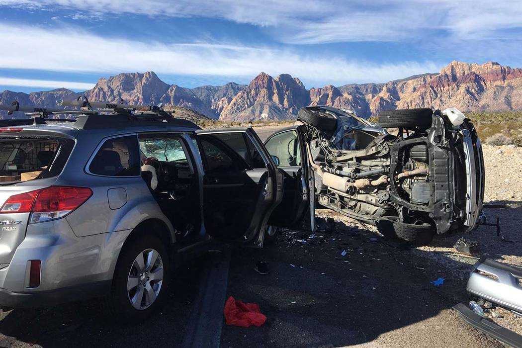 Two people died and another person was critically injured in a two-car crash on Sunday, Jan. 27, 2019, on state Route 159, near the entrance to the Red Rock Canyon National Conservation Area. (Tro ...