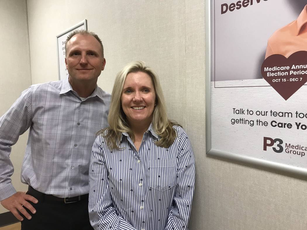 Jeffrey Meehan/Pahrump Valley Times Dr. Edward Harding, lead provider for P3 Medical Group's Pahrump clinic (left) stands with Dr. Tracy Wakefield, president of P3 Nevada Medical Group on Oct. 22, ...