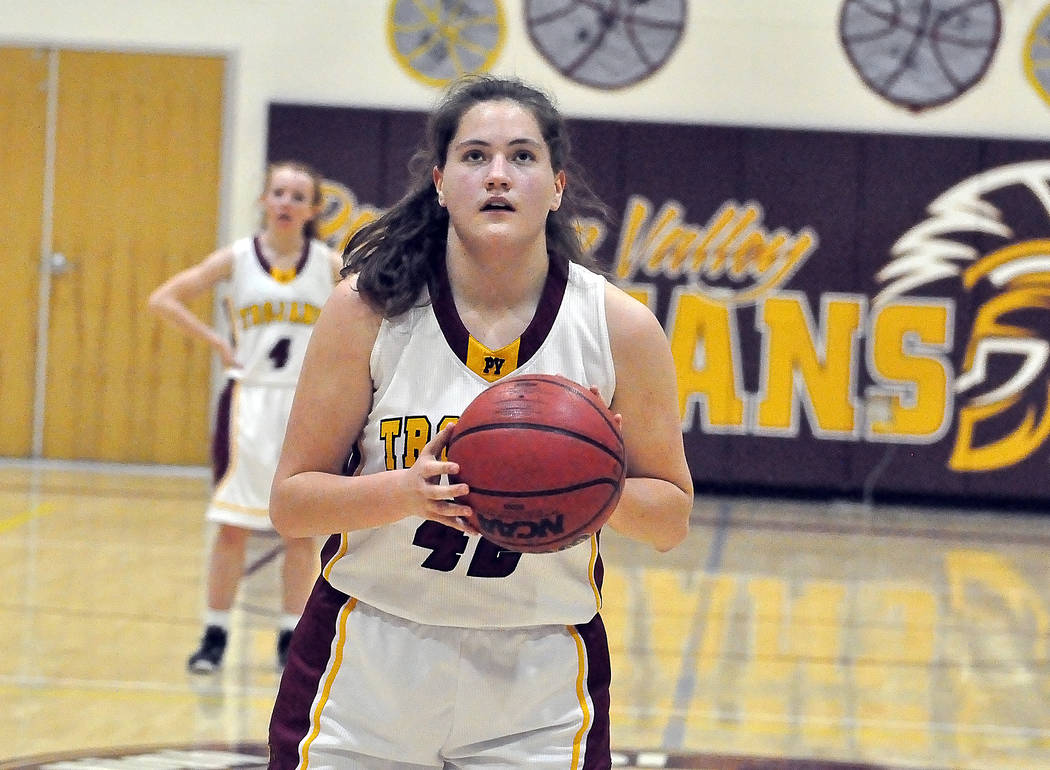 Horace Langford Jr./Pahrump Valley Times Sophomore Kate Daffer lines up a free throw Tuesday night during Pahrump Valley's 57-21 win over Del Sol. Daffer finished with a team-high 12 points.