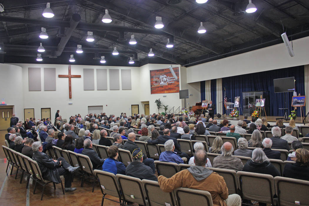 Robin Hebrock/Pahrump Valley Times The Pahrump Community Church was packed with those who turned out to demonstrate their love and support for the late Hollis Harris and his family during the Cele ...