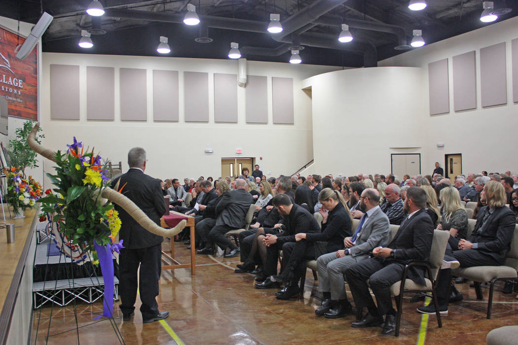 Robin Hebrock/Pahrump Valley Times Informal speeches were made by many of those attending the Hollis Harris Celebration of Life, with the microphone passed around to audience members so they could ...