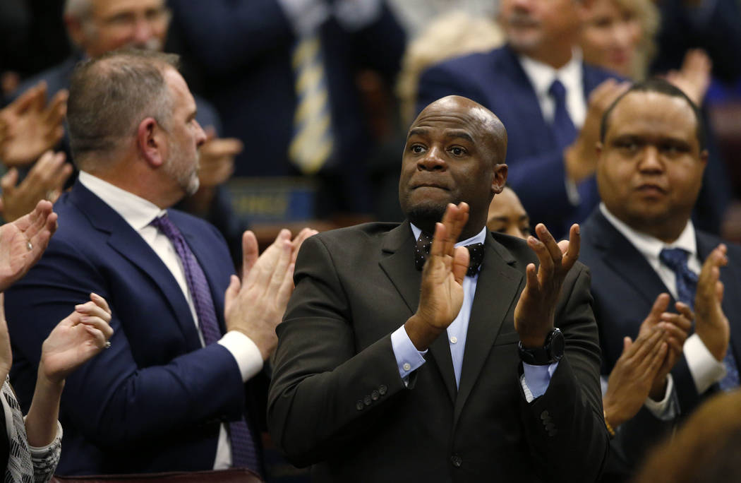 Nevada Senate Majority Leader Kelvin Atkinson, D-North Las Vegas applauds a portion of Gov. Steve Sisolak's State of the State address to the Legislature in Carson City, Nev., on Wednesday, ...