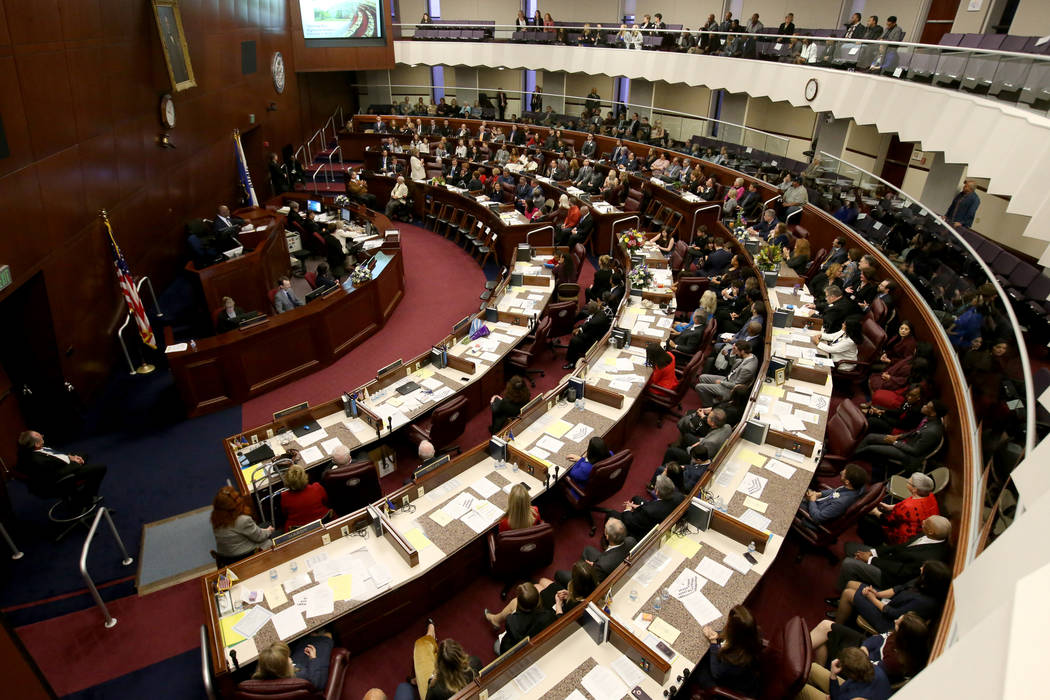 K.M. Cannon/Las Vegas Review-Journal Speaker Jason Frierson, D-Las Vegas, presides over the Assembly the Legislative Building in Carson City on the first day of the 80th session of the Nevada Legi ...