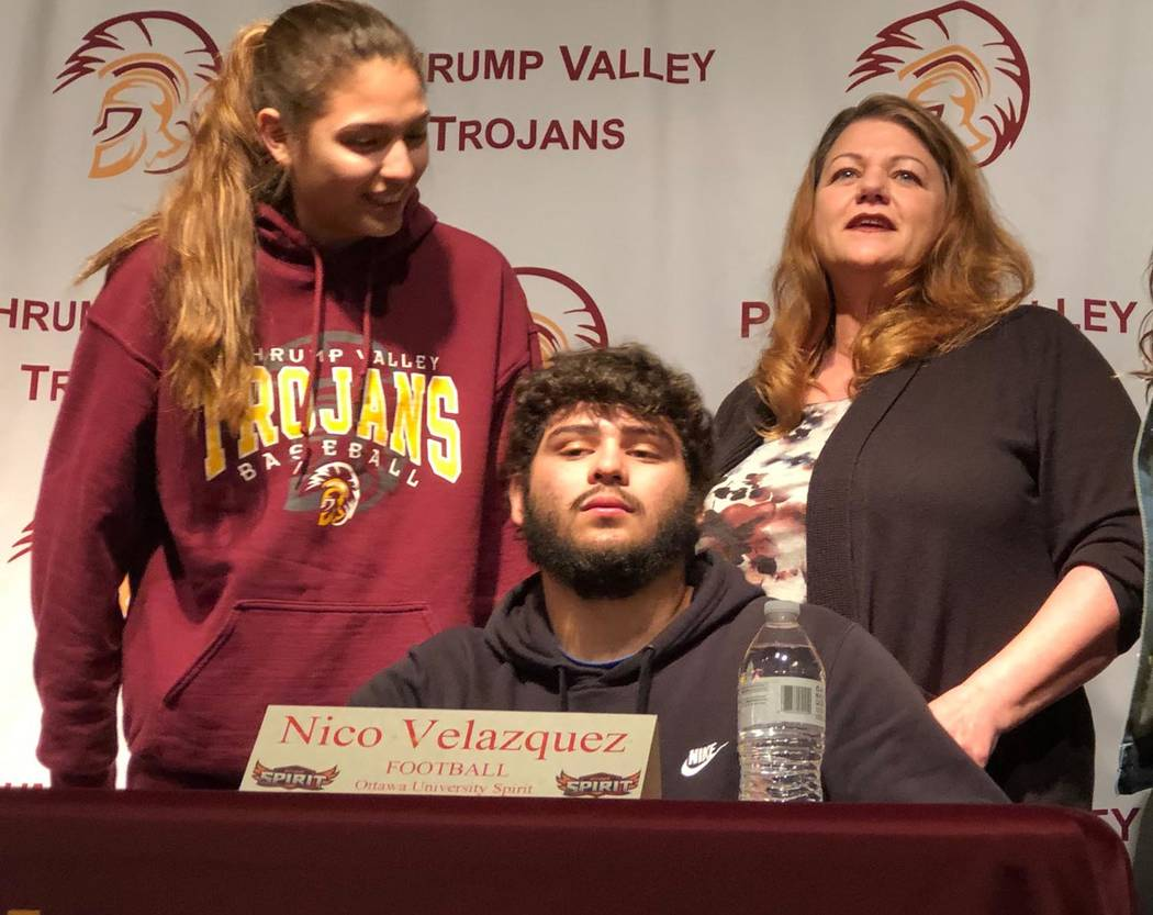 Tom Rysinski/Pahrump Valley Times Nico Velazquez after signing his letter of intent to play football at Ottawa University's Arizona campus on Wednesday morning at Pahrump Valley High School.