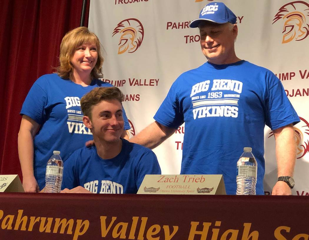 Tom Rysinski/Pahrump Valley Times Pahrump Valley High School senior Willie Lucas signs his letter of intent Wednesday to play baseball at Big Bend Community College in Moses Lake, Washington.