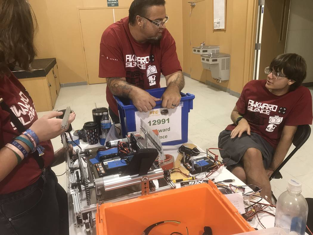 Jeffrey Meehan/Pahrump Valley Times FIRST (For Inspiration and Recognition of Science and Technology) Tech Challenge (FTC) program 2018-2019 season got underway in Pahrump on Nov. 3, 2018 at the N ...
