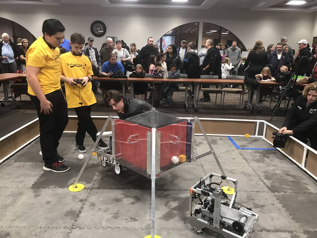 Jeffrey Meehan/Pahrump Valley Times Several robotics teams in the Pahrump area gathered for a fundraising event at Valley Electric Association's conference center in January to raise funds and sho ...