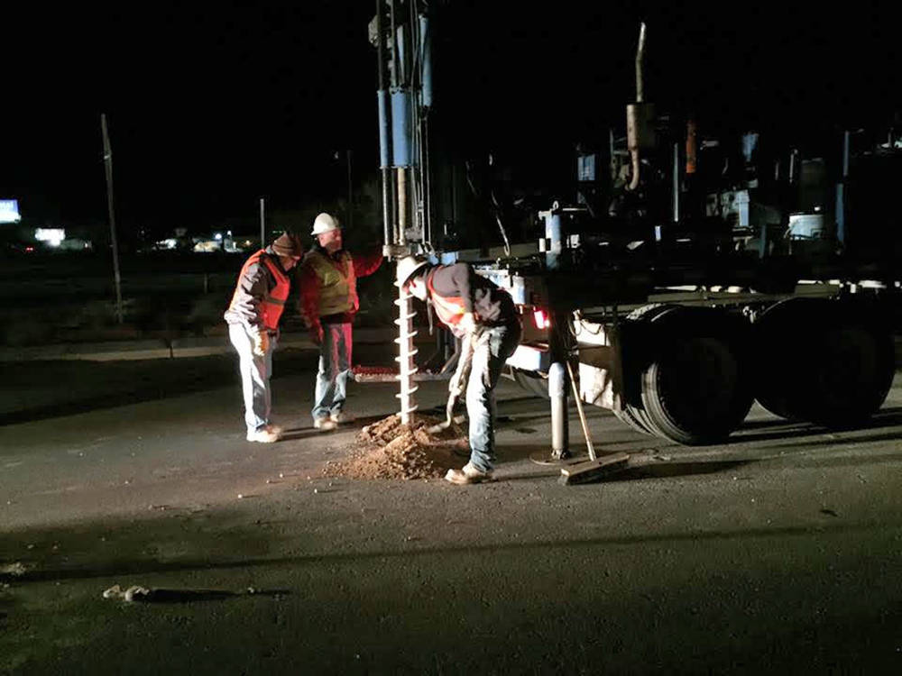 Special to the Pahrump Valley Times Work crews are pictured performing core drilling at the intersection of Highway 160 and Homestead Road in Pahrump. Photo courtesy of Nye County Public Works.