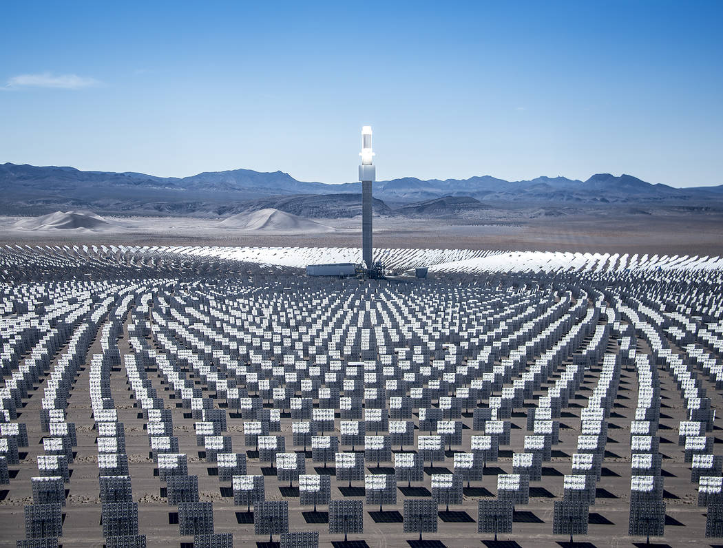 Special to the Pahrump Valley Times Crescent Dunes, the world's first utility-scale solar thermal project with 1,100 MW-hours of integrated molten salt energy storage.Here it is shown a file photo.