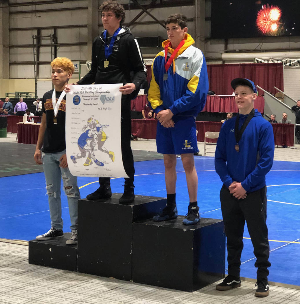 Tom Rysinski/Pahrump Valley Times From left, third-place Isaak Cruz of Pahrump Valley, first-place Dyllan Fuchs of Spring Creek, second-place Cade Bell of Lowry and fourth-place Nate Singelyn of S ...