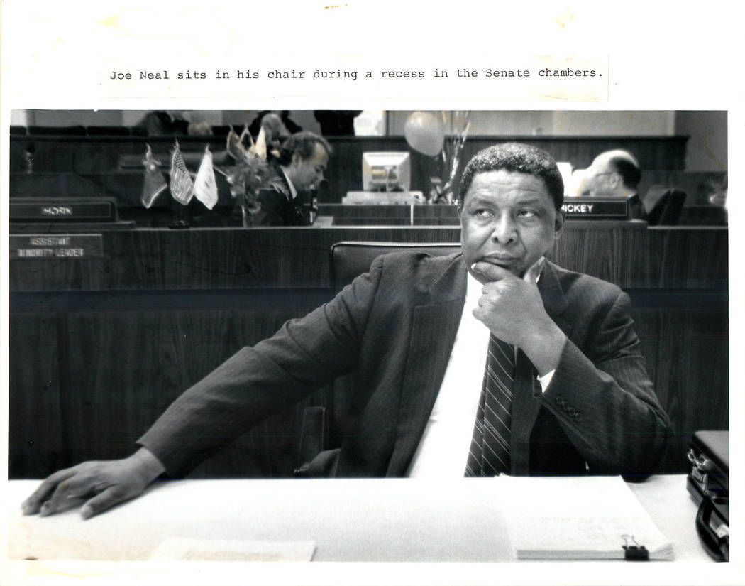 Las Vegas Review-Journal/file photo Joe Neal sits in his chair during a recess in the Senate chambers as shown in a 1989 file photo.