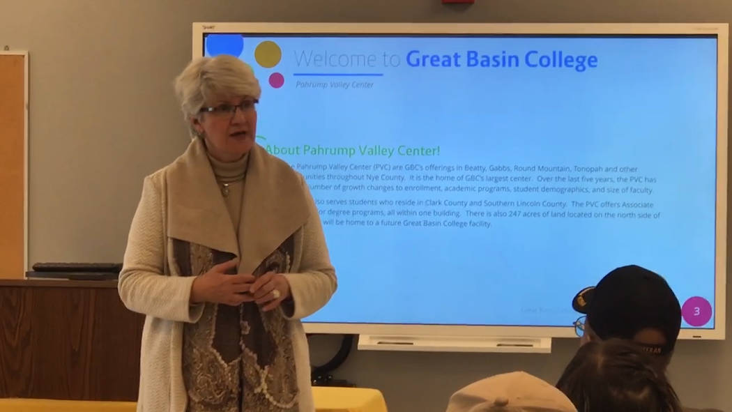 Jeffrey Meehan/Pahrump Valley Times Great Basin College President Joyce Helens at the college's Pahrump campus at 551 E. Calvada Blvd. Helens led a discussion about the college during a town hall ...