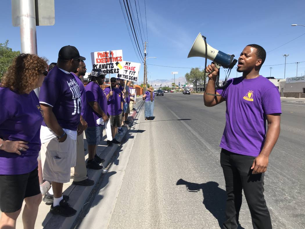 William McCurdy, political director of the Service Employees International Union, leads a picket outside the Las Vegas Review-Journal on Tuesday, June 19, 2018 in Las Vegas. The SEIU is in the mid ...