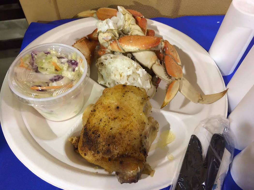 Robin Hebrock/Pahrump Valley Times A delightful dinner featuring freshly flown in Dungeness Crab from the Pacific Northwest, along with chicken and a variety of sides, awaits those who plan to att ...