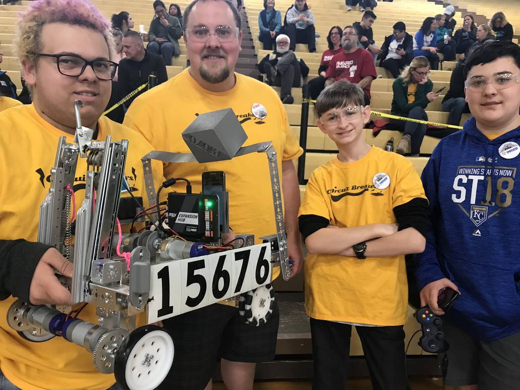 Jeffrey Meehan/Pahrump Valley Times The Circuit Breakers from Pahrump Valley High School in Las Vegas at the state championships for the FIRST (For Inspiration and Recognition of Science and Techn ...