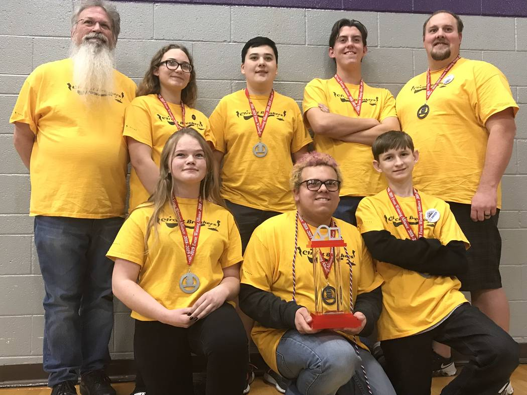 Jeffrey Meehan/Pahrump Valley Times The Circuit Breakers from Pahrump Valley High School at the FIRST (For Inspiration and Recognition of Science and Technology) Tech Challenge on Feb. 9, 2019. Th ...