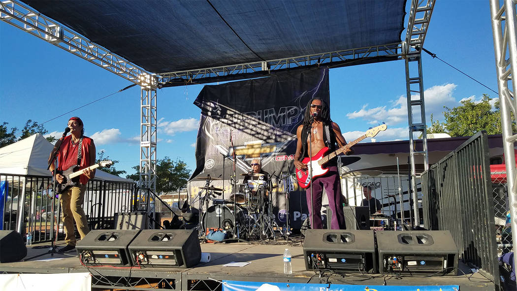 David Jacobs/Pahrump Valley Times The Thirsty Baybz perform at the Pahrump Fall Festival in Petrack Park on Saturday, Sept. 23. The band played a variety of music, including classic rock songs.