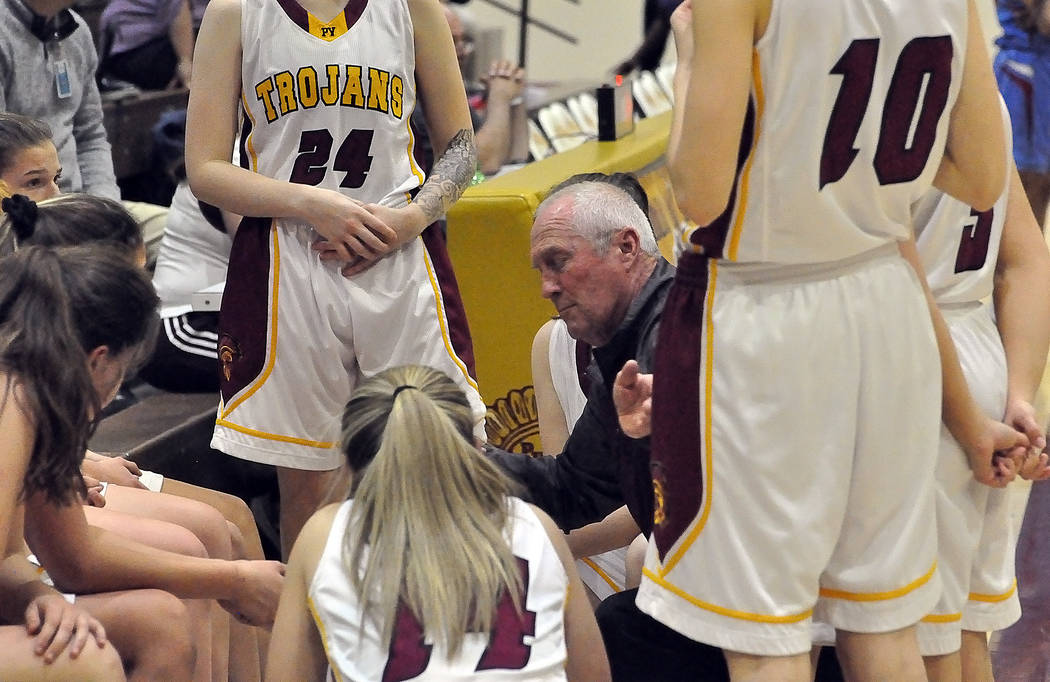 Horace Langford Jr./Pahrump Valley Times Pahrump Valley girls basketball coach Bob Hopkins talks to his team during a timeout Monday night against Western. Hopkins' team clinched its second consec ...
