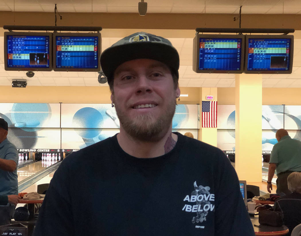 Tom Rysinski/Pahrump Valley Times Pahrump resident Troy Smith, 33, rolled his first sanctioned 300 game Feb. 2 at the Pahrump Nugget Bowling Center.