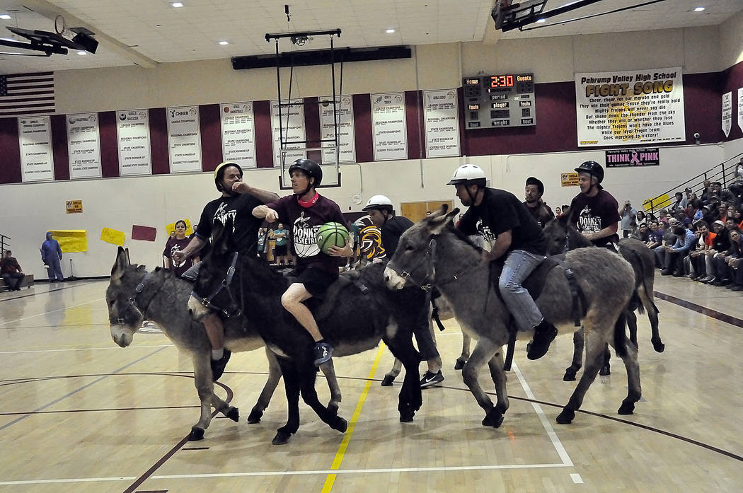 Horace Langford Jr./Pahrump Valley Times Approximately 700 spectators filled Pahrump Valley High School's gym last March 2 for the annual Donkey Basketball game.