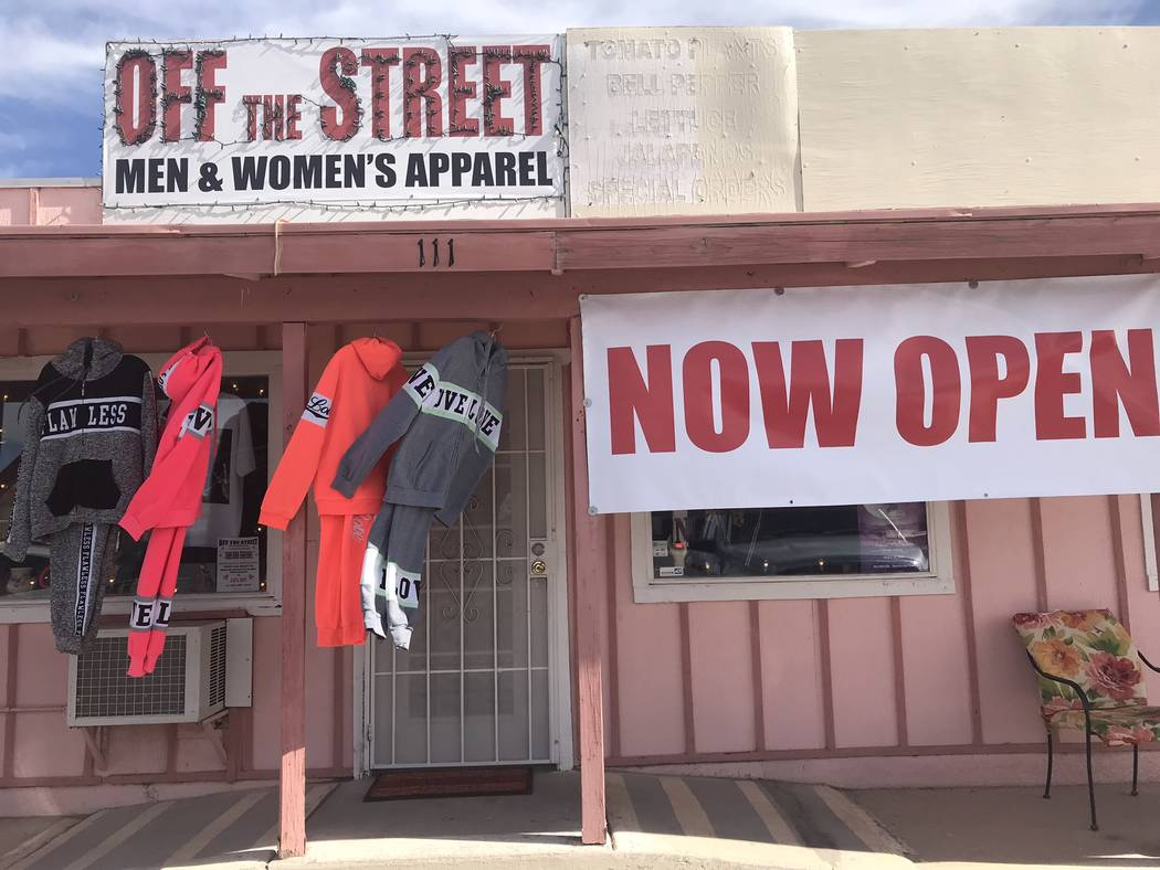 Jeffrey Meehan/Pahrump Valley Times The entrance of Pahrump's newest clothing store, Off the Street, on Feb. 15, 2019.