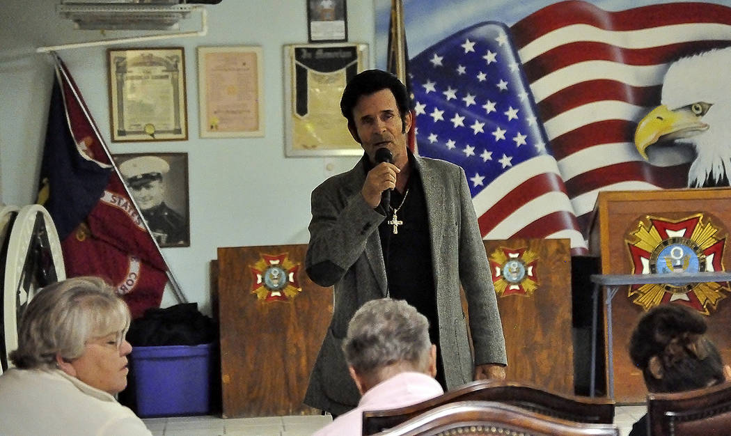 Horace Langford Jr./Pahrump Valley Times Local Elvis Presley impersonator Johnny V is pictured in this file photo auditioning for a past USO Show.