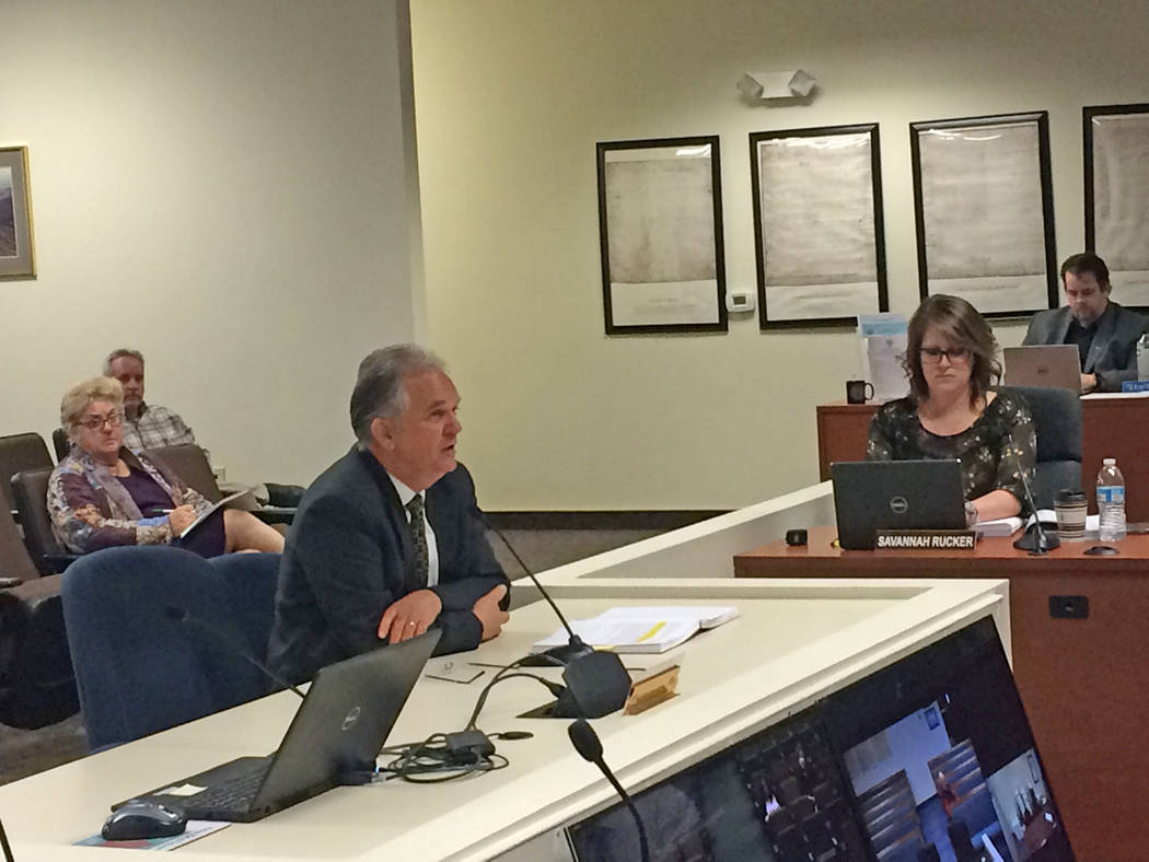 Robin Hebrock/Pahrump Valley Times Independent auditor Dan McArthur presented the Nye County fiscal year 2018 audit to the Nye County Commission on Feb. 12.