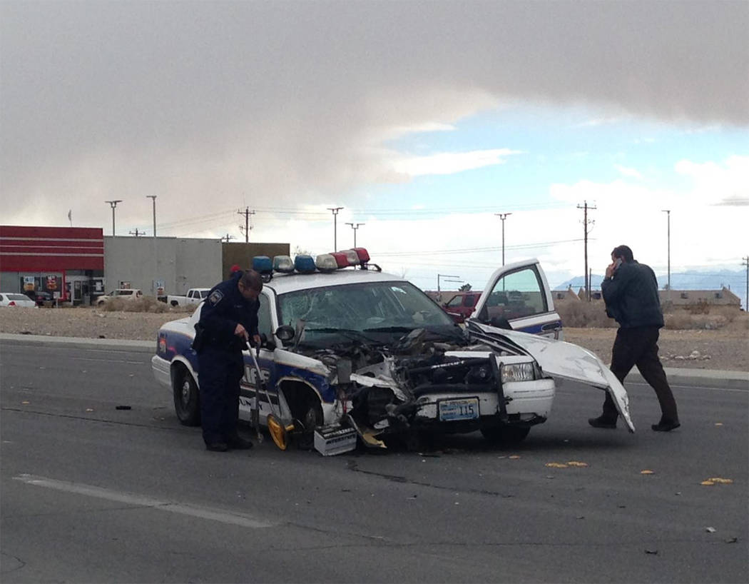 Special to the Pahrump Valley Times A Nye County Sheriff's Office deputy along with a private citizen were transported to Desert View Hospital after a high-impact collision along northbound Highw ...
